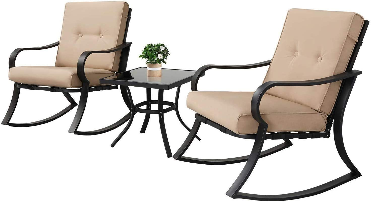 Oakmont Outdoor Furniture 3 Piece Bistro Set Rocking Chairs and Glass Top Table