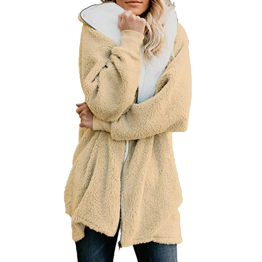 Pandaie Womens Long Sleeve Solid Fuzzy Fleece Jacket Open Front Hooded Cardigans Coats Outwear with Pocket Yellow by Pandaie