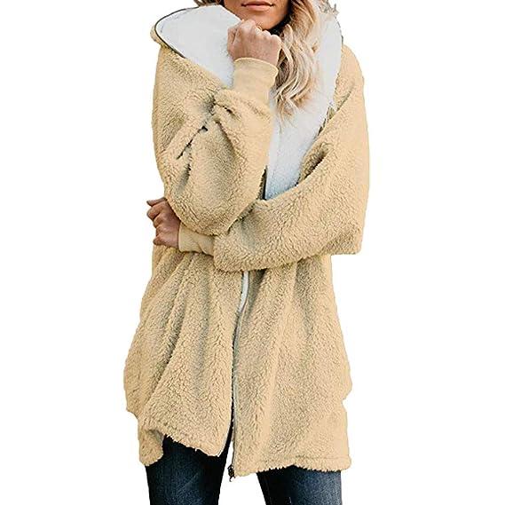 Beladla Mujeres De Invierno De Lana Caliente Y Esponjoso Abrigo Calentar con Manga Larga para Mujer De Piel SintéTica De Pelo Chaqueta Pull-Over Camisa ...