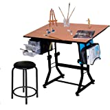 "Martin Ashley Art-Hobby Table with Stool, Black with Cherry Top, 23.5""X35.5"" Size Surface"
