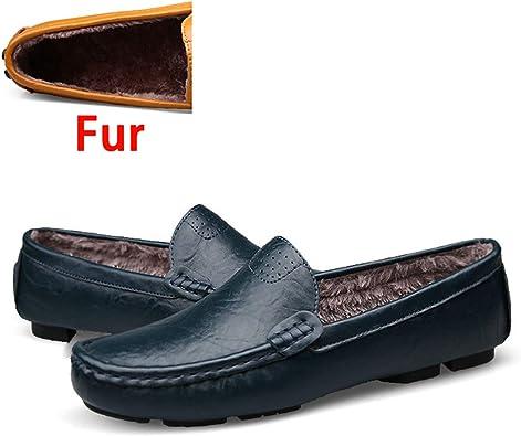 Tamaño Grande 36~50 Zapatos de Cuero Genuino Hombre Mocasines Suaves Marca de Moda Hombre Pisos Cómodos Zapatos de conducción: Amazon.es: Zapatos y complementos