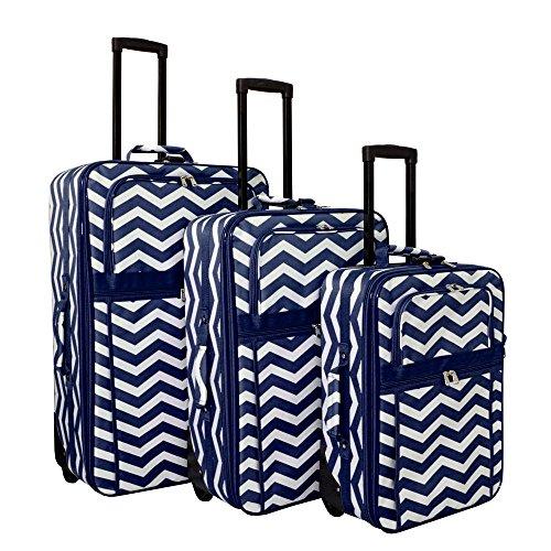 World Traveler Vogue Expandable Upright Luggage Set, Navy Chevron
