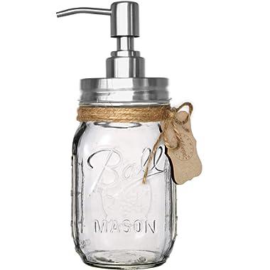 Premium Rustproof Stainless Steel, Iconic Ball Mason Jar Soap Pump/Lotion Dispenser Kit - Includes 16 oz (Regular Mouth) Glass Mason Jar (Clear Ball Jar, Rust Proof Silver)