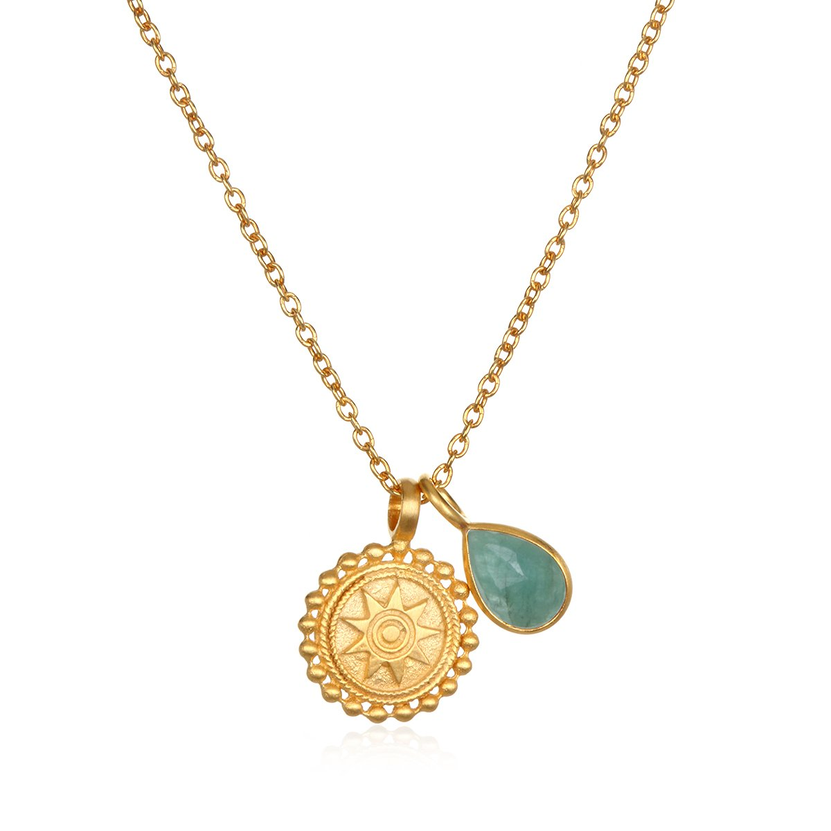 Satya Jewelry Womens Mandala Emerald Birthstone Pendant Necklace 16-Inch +2-Inch Extension, Green, One Size
