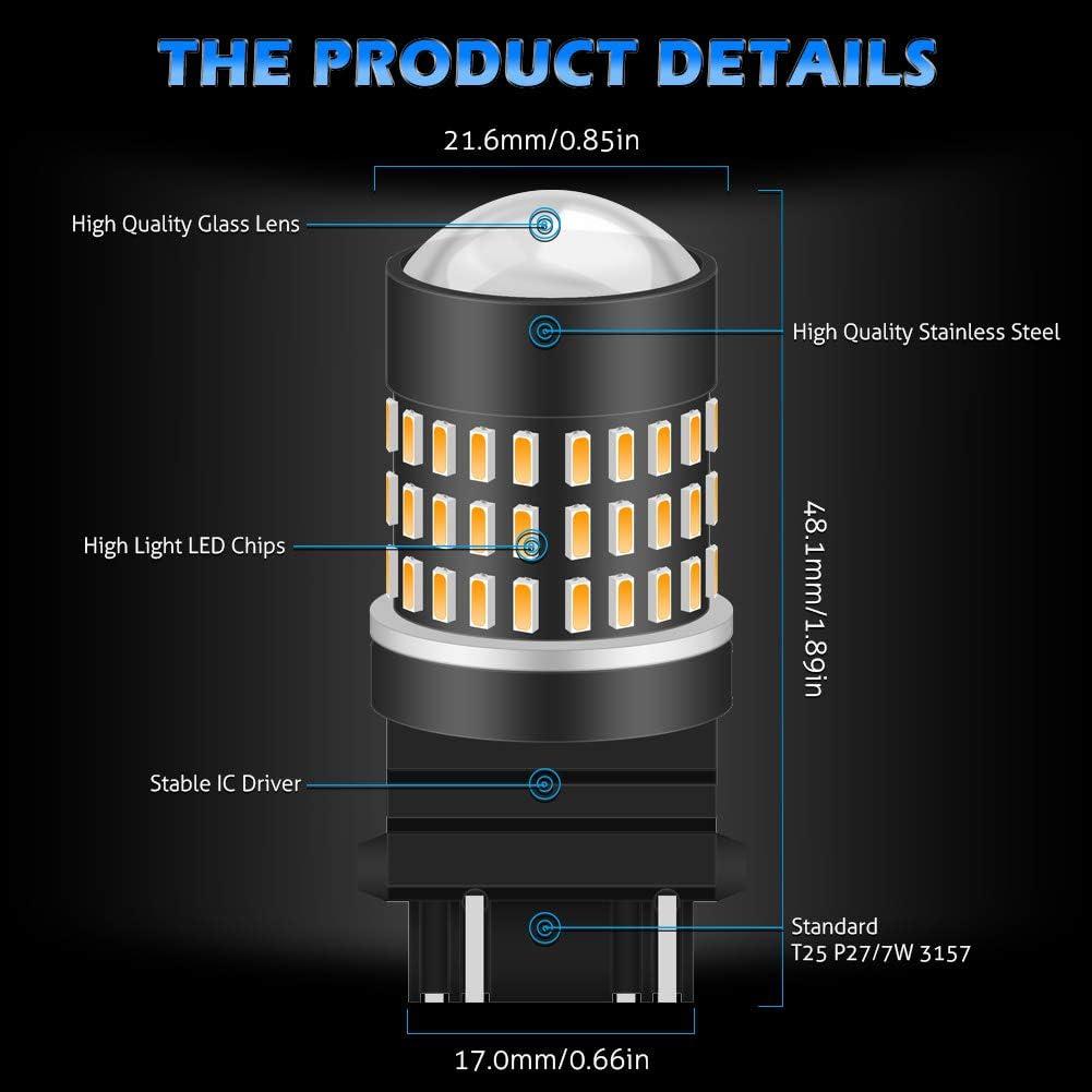 confezione da 4 Xenon Bianco KATUR 3157 3047 3057 3156 Lampadina a Led 900 Lumen 3014 78SMD Lampadine a LED per Freno Segnale di Girata Luce di retromarcia a Backup