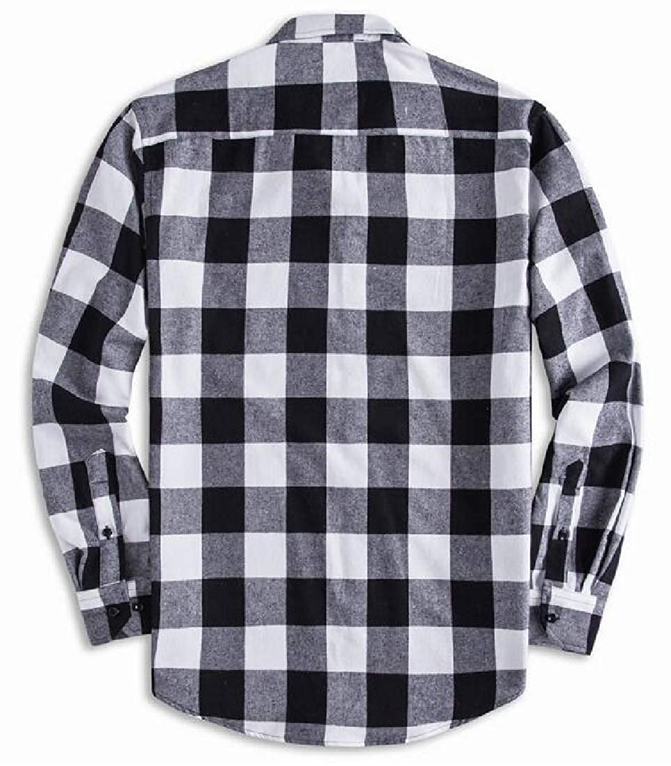 ARTFFEL Mens Casual Long Sleeve Lapel Neck Checkered Cotton Relaxed Fit Button Up Shirt Coat