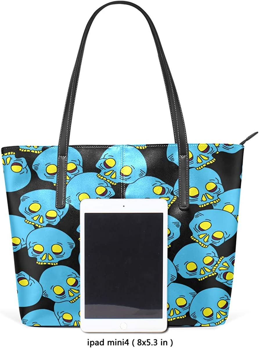 Blue Skull Cartoon Leisure Fashion PU Leather Handbag for Women Large Tote Bag Shoulder Bag for Gym Beach Travel Daily Bags