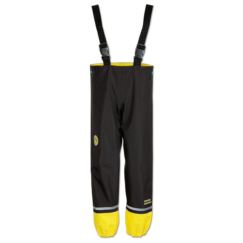 Borussia Dortmund Regenhose für Kinder, Schwarzgelb, Polyester, 92/98 bis 128/134, BVB-Emblem, Reflektoren (Gelb)