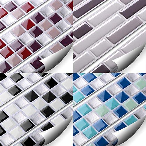 Wandaro® W3329 3D Fliesenaufkleber verschiedenen Farben und Größen Wandtattoo blau türkis silber (BxH) 25,3 x 25,3 cm