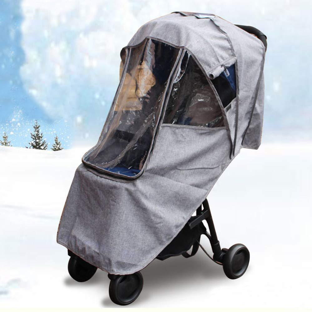 Baby Stroller Rain Cover Weather Shield Compatible with Babyzen YOYO YOYO+ Strollers, Waterproof, Windproof,Snow Protection,Ventilation,Grey ROMIRUS YY10-CA