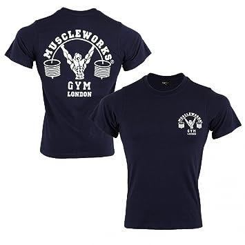 Músculo Funciona Gimnasio Camiseta Gimnasio Entrenamiento Camisetas Mens Azul Marino: Amazon.es: Deportes y aire libre