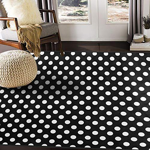 ALAZA White Black Polka Dot Area Rug Rugs for Living Room Bedroom 7' x 5' ()