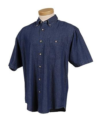 58d9c0f4 Big Mens 100% Cotton 7 oz. Short Sleeve Pocket Denim Shirt at Amazon ...