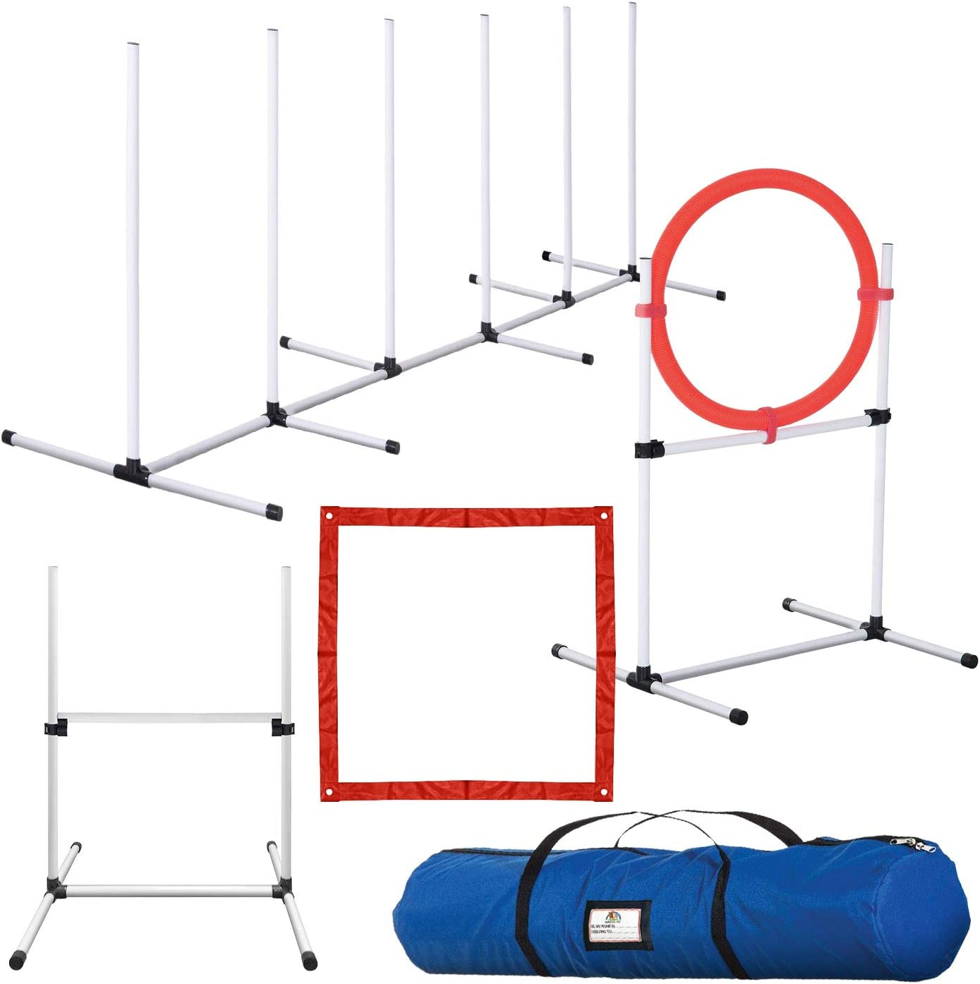 CHEERING PET, Dog Agility Training Equipment, 4 Piece Dog Obstacle Course Includes Dog Jump, Tire Jump, Pause Box and Weave Poles with Carrying Case, Indoor or Outdoor Dog Agility Training