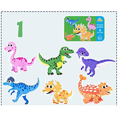 FidgetGear Kids Puzzle Toy,6 in 1 Baby Cartoon Animal Pattern Puzzles Early Education Wood Toy for Toddlers Children Dinosaur Family