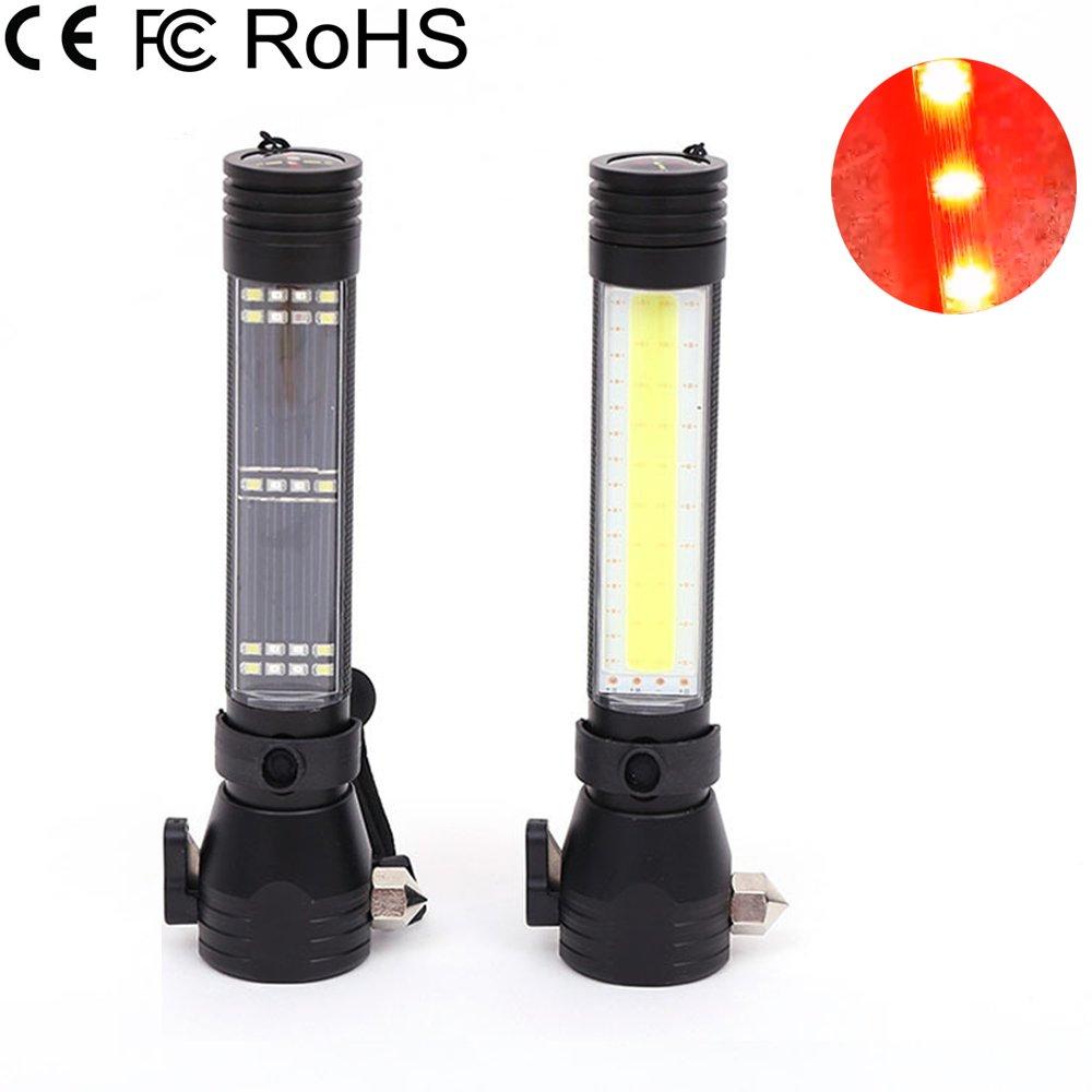 LED Multifunctional Flashlight Car Emergency Light Safety Escape Hammer Outdoor Solar Energy Illumination Safety Hammer