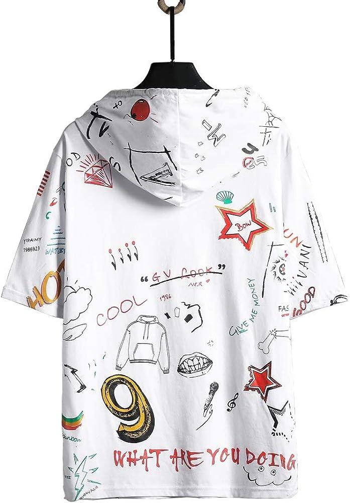 GURUNVANI Mens Colorblock Short Sleeve Pullover Hipster Thin Hoodie Shirt/…