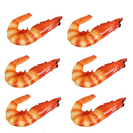 Transcend11 Pack of 6 Fake Cooked Shrimp Artificial Crayfish Raw Lobster  Seafood Model for Kitchen Home Party Christmas Halloween Decoration Market
