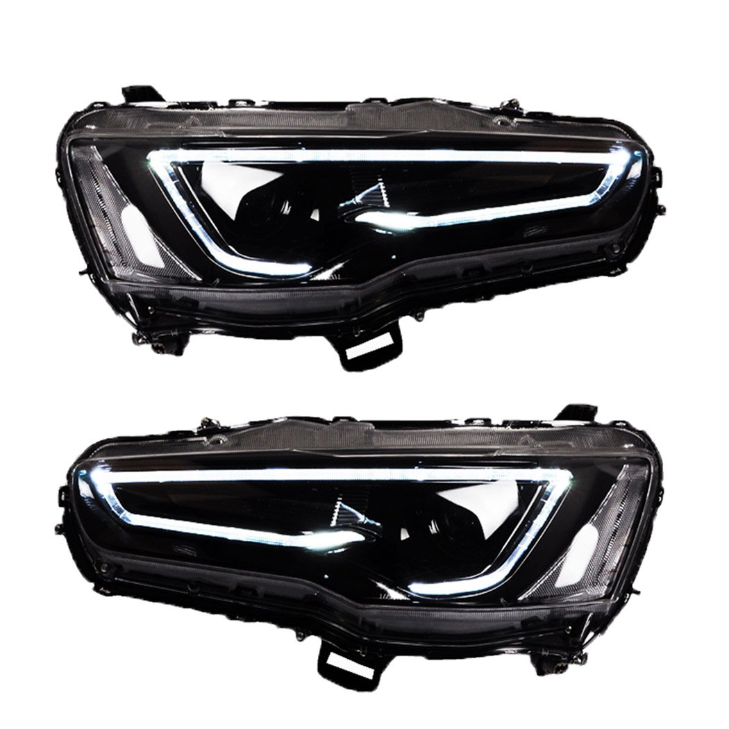 Amazon.com: Vland LED Blackout Headlights For 2008-2017 Mitsubishi Lancer/Evo X head lamp Audi Style: Automotive