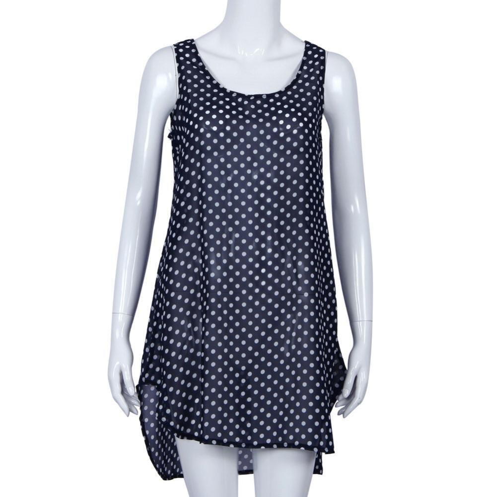 HP95® Women Polka Dot Bathing Suit Bikini Cover Up Swimwear Summer Beach Dress