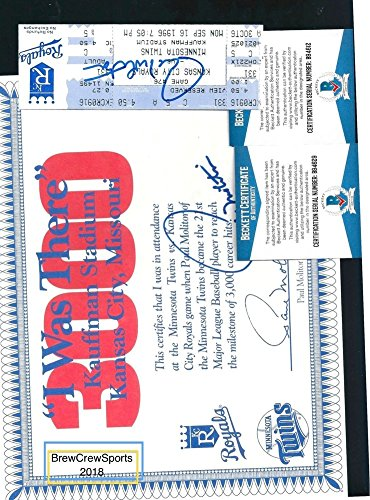 Paul Molitor Autographed 3000 Hit Ticket I Was There Commemorative Beckett Certified2