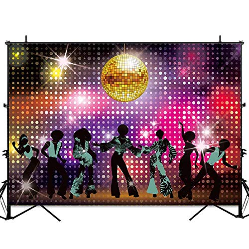 Allenjoy 7x5ft Vintage 70s 80s 90s Disco Dancers Backdrop for Party Let's Glow Crazy Shining Neon Night Adults Birthday Photography Background Cake Table Banner Photobooth -
