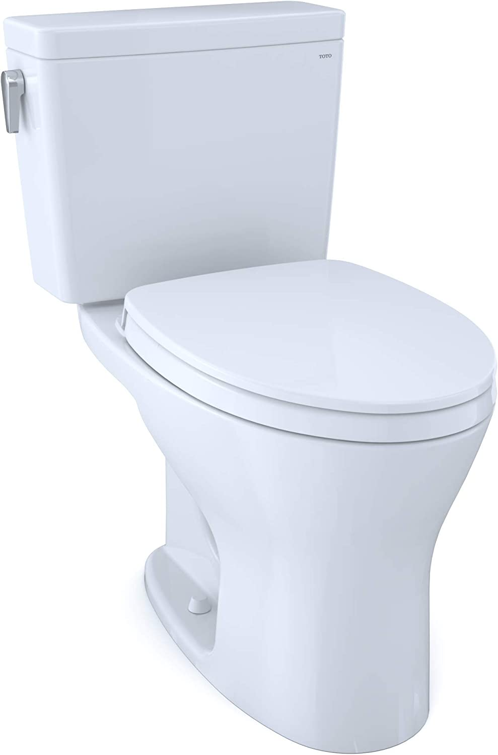 Toto Ms746124csmg 01 Drake Two Piece Elongated Dual Flush 1 6 And 0 8 Gpf Dynamax Tornado Flush Toilet With Cefiontect And Softclose Seat Washlet Ready Cotton White