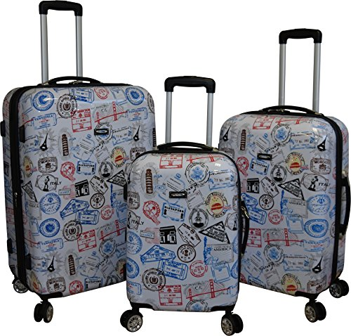 Kemyer 888 Vintage World Series Lightweight 3-PC Expandable Hardside Spinner Luggage Set (Silver Stamps) ()