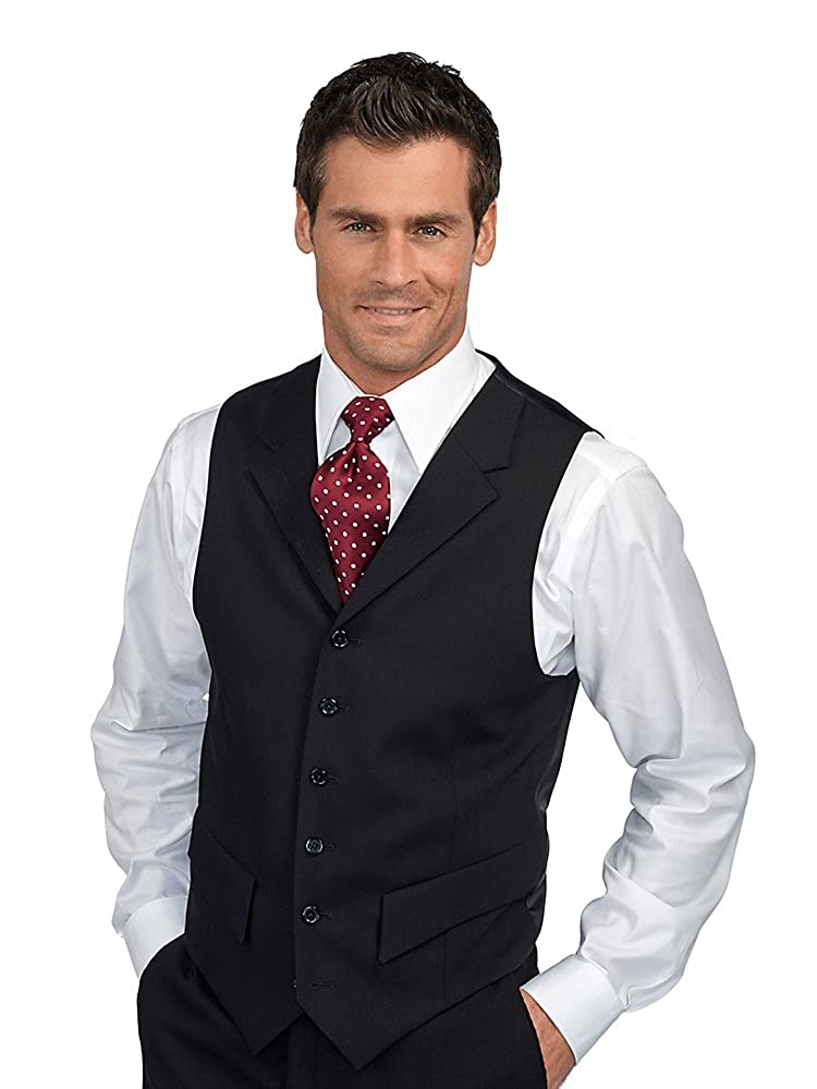 Paul Fredrick Men's 100% Wool Six-Button Notch Lapel Suit Separate Vest Black Tall RMK160V00144T