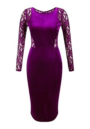 Tribear Women s Sexy Evening Lace Velvet Midi Bodycon Dress at ... 020752305
