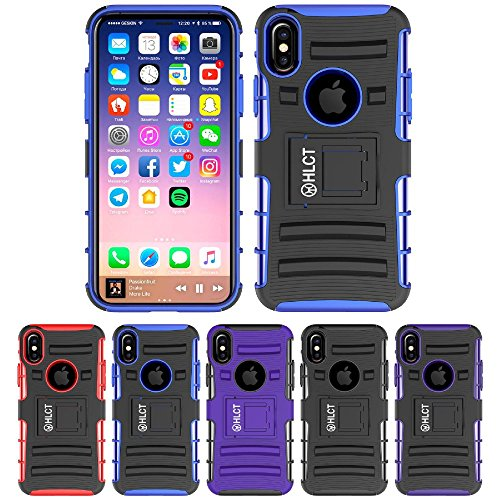 Price comparison product image iPhone Xs Stand Case,  iPhone X Case,  HLCT Rugged Shock Proof Dual-Layer Case with Built-in Kickstand (Blue)