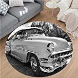 Nalahome Modern Flannel Microfiber Non-Slip Machine Washable Round Area Rug-0s Retro Classic Pin Up Style Cars in Hollywood Movies Image Artwork Black White and Gray area rugs Home Decor-Round 63''
