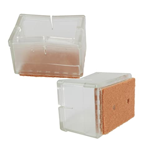 BQLZR Rectangular Transparent Silicon Gel Chair Leg Caps Feet Pads  Furniture Table Covers Wood Floor Protectors
