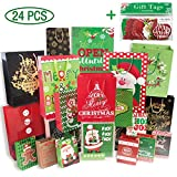 White Cardboard Christmas Gift Bags Assorted 24 Count Bulk Set(6 Jumbo 6 Large 6 Medium 6 Small) with Christmas Gift Tags 60 Count