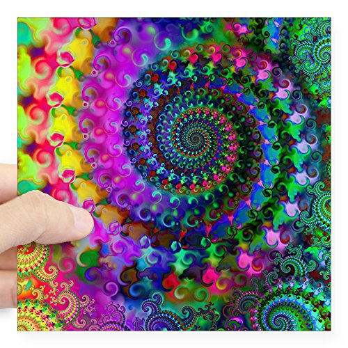 - CafePress Psychedelic Rainbow Fractal Pattern Square Sticker Square Bumper Sticker Car Decal, 3