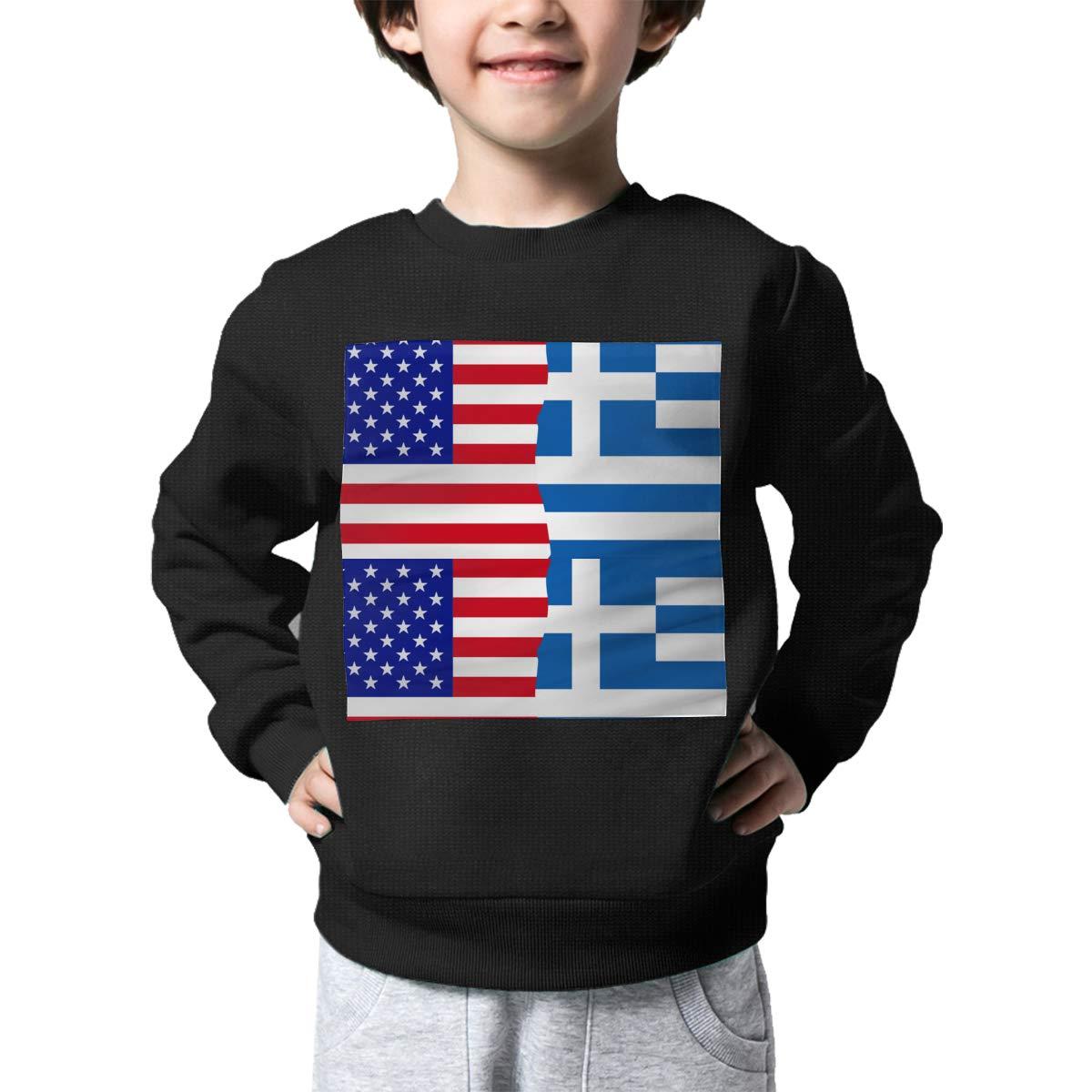 NJKM5MJ Boys Girls Half USA Half Greek Flag Lovely Sweaters Soft Warm Kids Sweater
