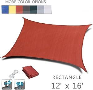 Love Story 12' x 16' Rectangle Terra Sun Shade Sail Canopy UV Block Awning for Outdoor Patio Garden Backyard