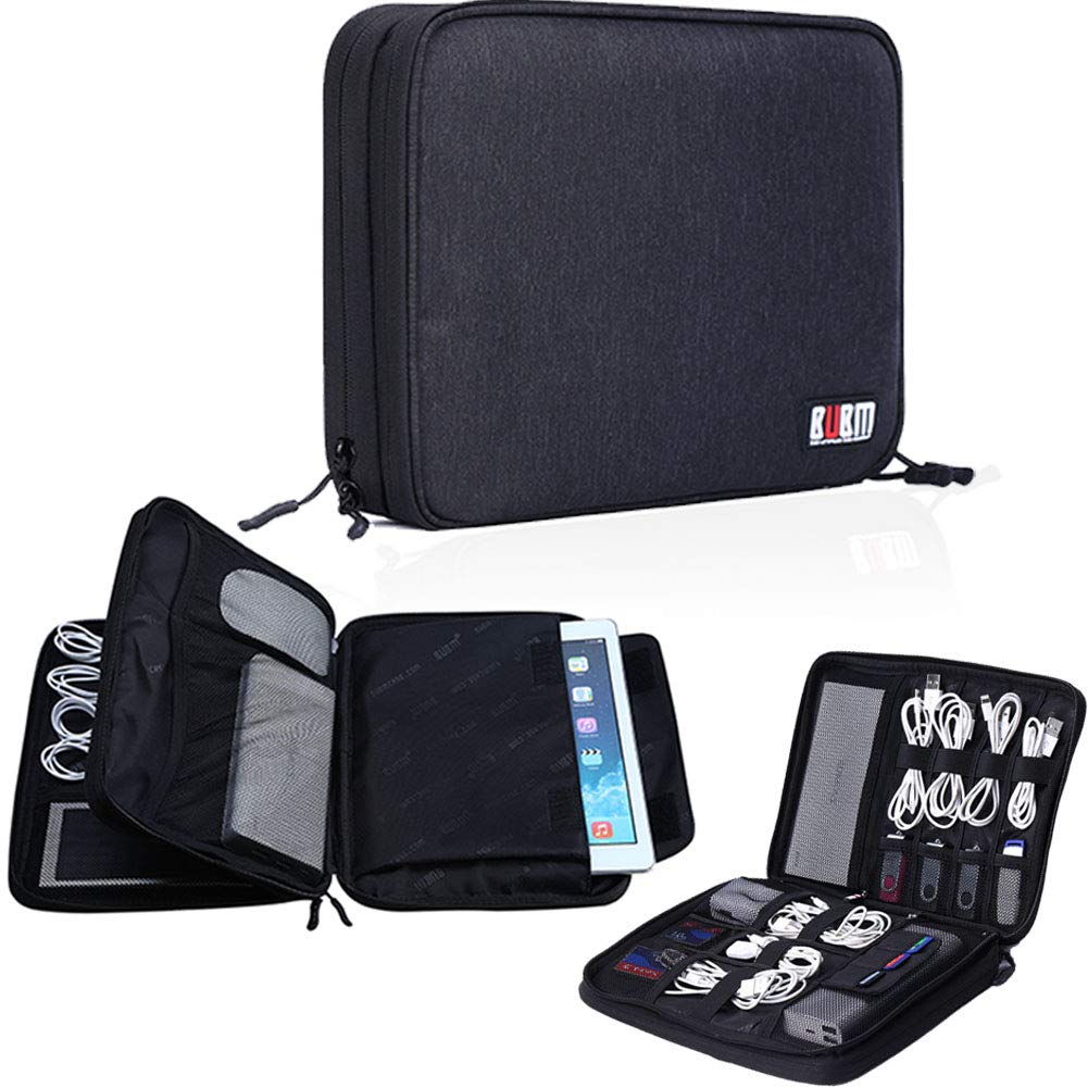 BUBM Travel Cable Organizer,Large Electronics Accessories Bag for Cord,Plug,SD Card, Hard Drive, Power Bank,9.7 Inch iPad or Tablet(Double Layers,Black)