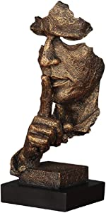 Abstract and Creative Desk Decorations The Thinker Statue, Hand & Face Statues and Sculptures for Home Living Room Decor (Silence Gold)