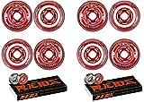 Revision Wheels Inline Roller Hockey Flex Soft Red 76mm 8-Pack w/Bones Bearings