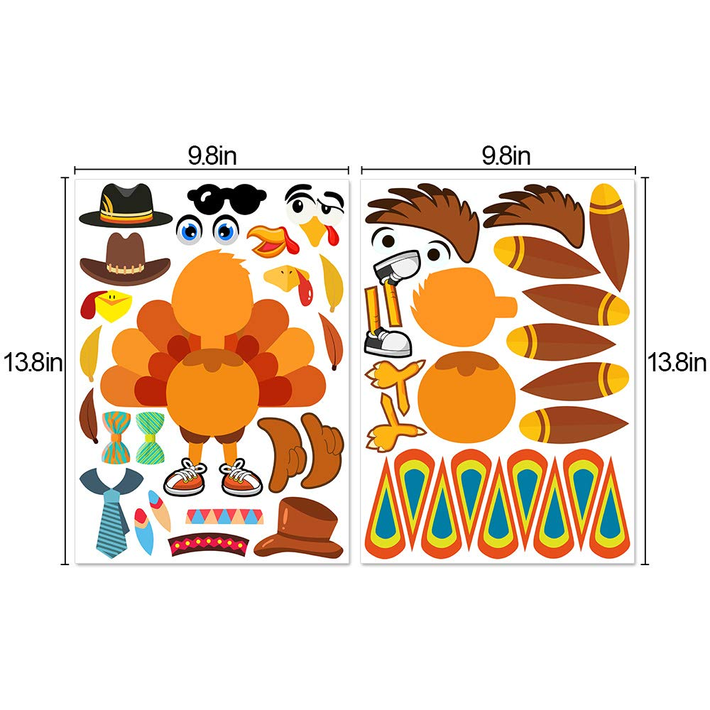 Toys & Games Party Supplies Make-A-Turkey Stickers Thanksgiving ...