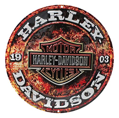 Embossed Bar - Harley-Davidson Embossed Stone Rust Bar & Shield Tin Sign, Round 14 inch 2011171
