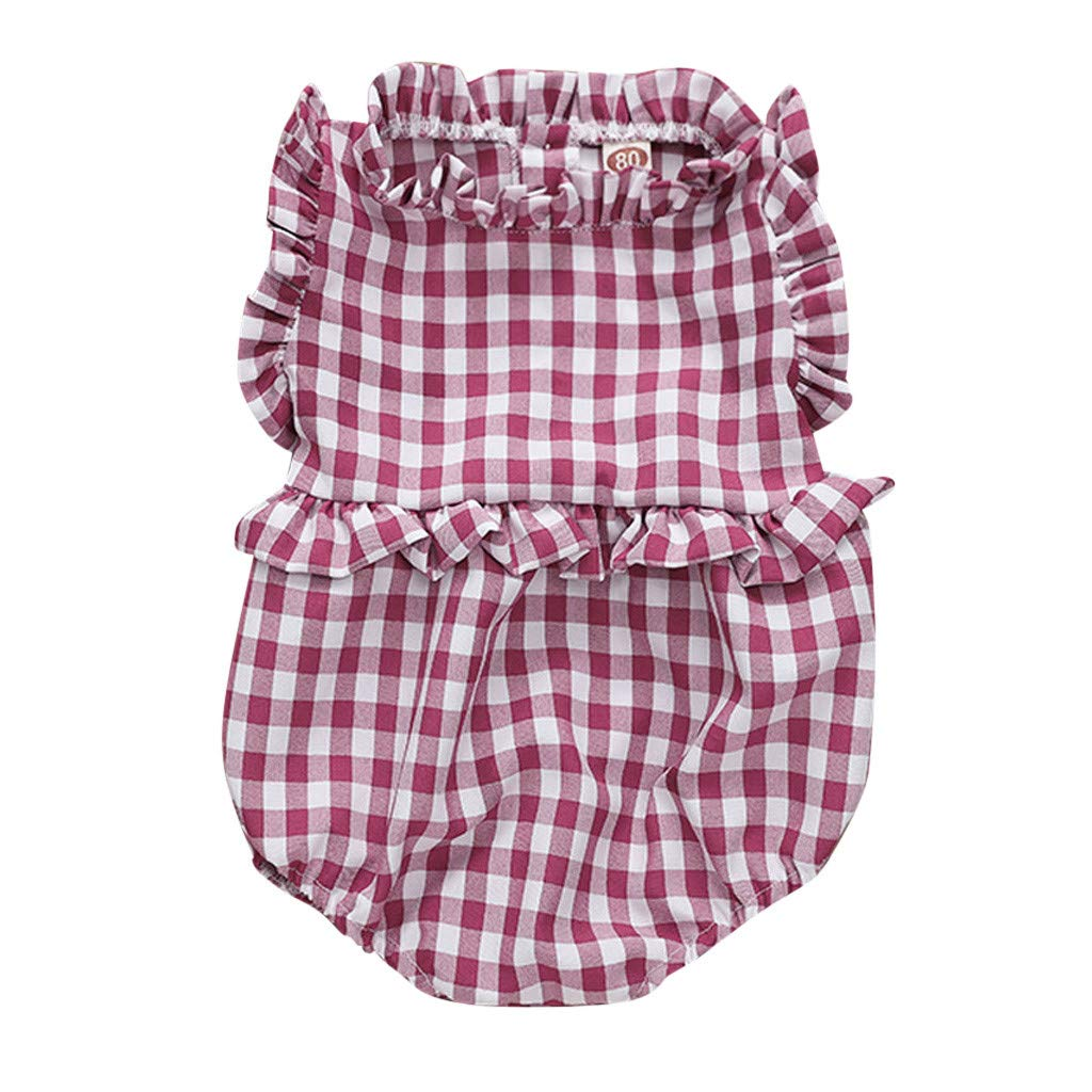 NUWFOR Newborn Infant Baby Girl Plaid Romper Ruffled Princess Bodysuit Clothes (Red,18-24 Months)