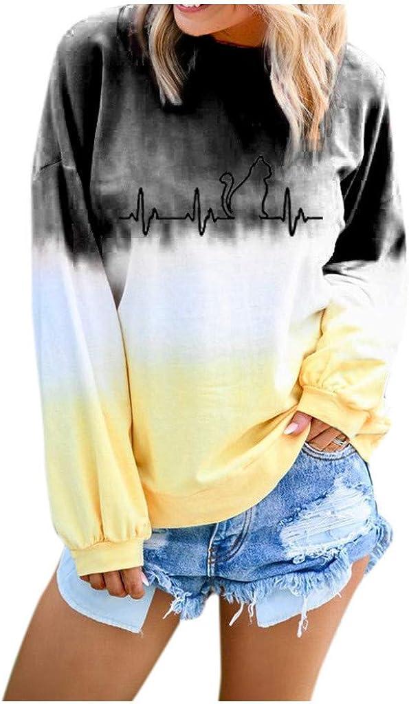 VEMOW Sudaderas Blusa Camisa De Las Mujeres Gradiente Contraste Gato De Color Impreso Manga Larga Parte Superior Pull-Over Camisa De Entrenamiento Camiseta Tops