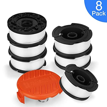 Thten String Trimmer Spool Replacement for Black and Decker AF-100 6 Spools, 1 Cap,1 Spring 30ft 0.065 Refills Line Auto Feed Single Weed Eater,GH600 GH900 Edger with RC-100-P Spool Cap Covers