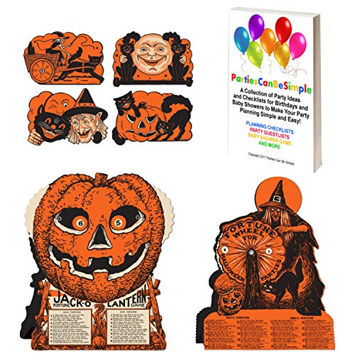 Vintage Halloween Decorations Including Hanging Cutouts Plus Jack-O-Lantern and Witch Fortune Wheel Games (6 Pieces)