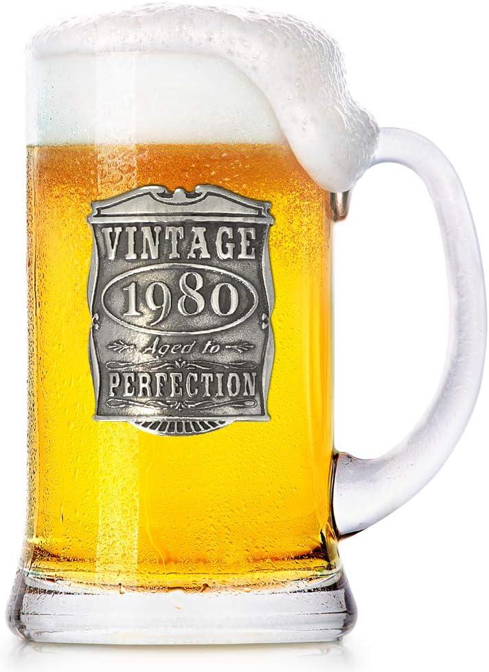 English Pewter Company VIN032 - Jarra de cerveza (473 ml), diseño vintage de años 1980, 40 cumpleaños o aniversario, regalo único…