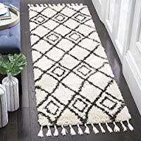Safavieh Moroccan Fringe Shag Collection MFG244B Cream and Charcoal Grey Runner Rug (23 x 7)