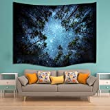 Alicemall Galaxy Tapestry Outer Space Shinning Blue Stars and Forest in the Dark Print Wall Hangings Tie Dye Tapestry Beach Tapestry Space and Tree Cool Tapestries, 60 x 80 inches (Blue Forest)