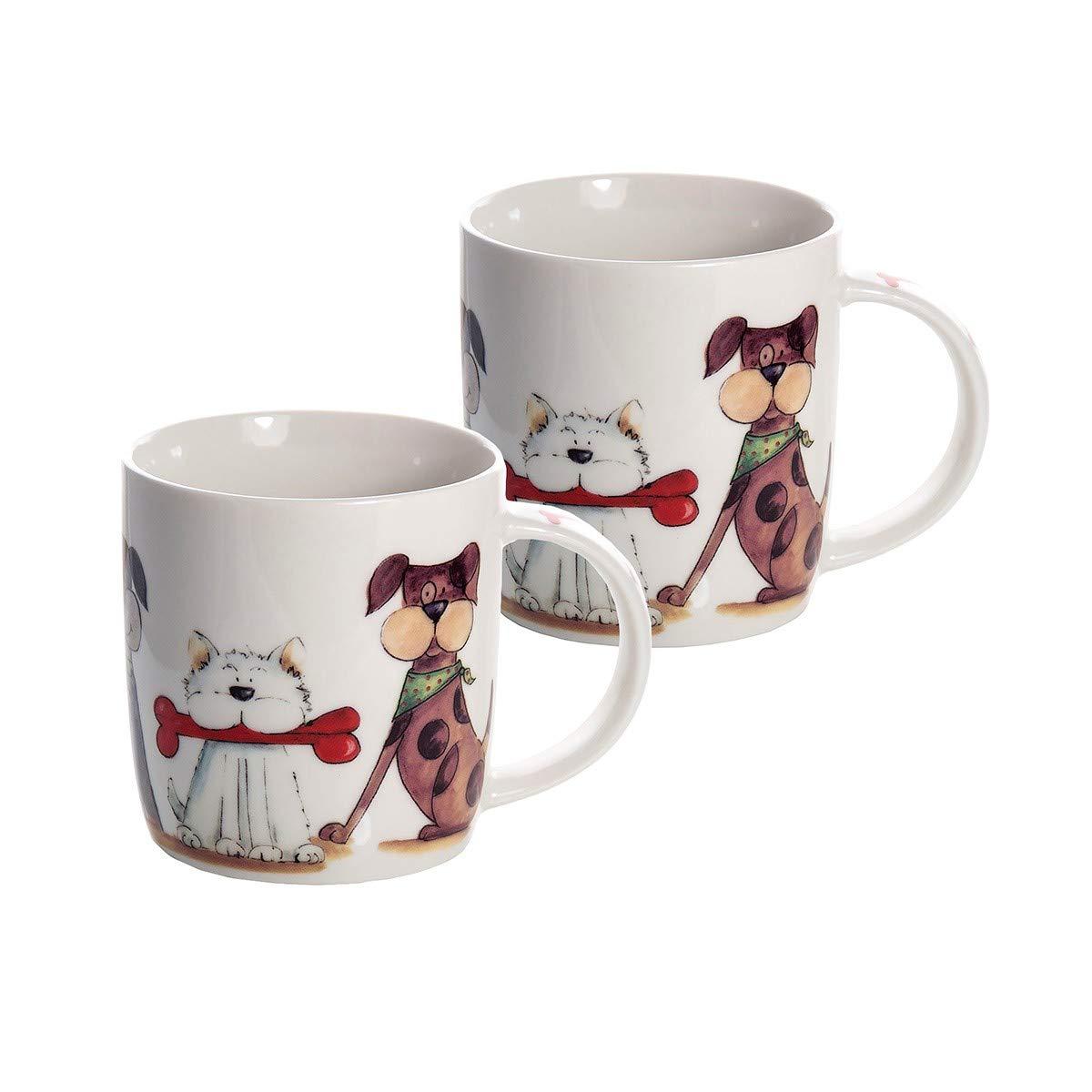 en Porcelaine de Haute qualit/é a Mignon Motif Originale des Chiens SPOTTED DOG GIFT COMPANY Lot de 2 Tasses Grandes Mugs Blanc a caf/é th/é Lait id/ée Cadeau id/éal Animaux